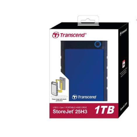 Transcend 1TB StoreJet 25H3B Portable (HDD) Blue